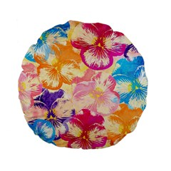 Colorful Pansies Field Standard 15  Premium Flano Round Cushions