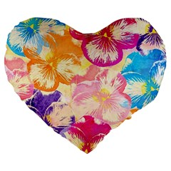 Colorful Pansies Field Large 19  Premium Flano Heart Shape Cushions by DanaeStudio