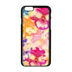 Colorful Pansies Field Apple Iphone 6/6s Black Enamel Case by DanaeStudio