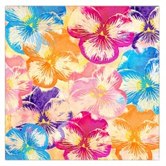 Colorful Pansies Field Large Satin Scarf (square) by DanaeStudio