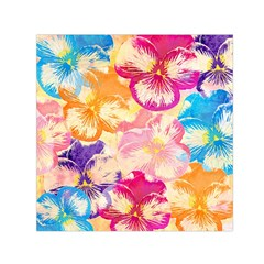 Colorful Pansies Field Small Satin Scarf (Square)