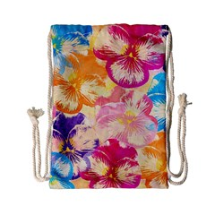 Colorful Pansies Field Drawstring Bag (small) by DanaeStudio