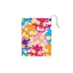 Colorful Pansies Field Drawstring Pouches (XS)