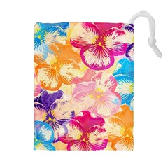 Colorful Pansies Field Drawstring Pouches (extra Large) by DanaeStudio