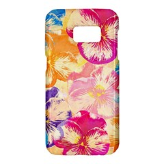 Colorful Pansies Field Samsung Galaxy S7 Hardshell Case  by DanaeStudio