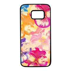 Colorful Pansies Field Samsung Galaxy S7 Black Seamless Case by DanaeStudio