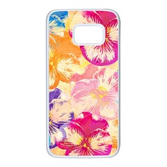 Colorful Pansies Field Samsung Galaxy S7 White Seamless Case