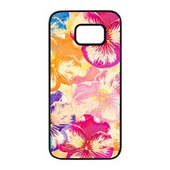 Colorful Pansies Field Samsung Galaxy S7 Edge Black Seamless Case by DanaeStudio