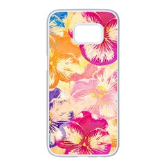 Colorful Pansies Field Samsung Galaxy S7 Edge White Seamless Case by DanaeStudio