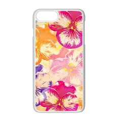 Colorful Pansies Field Apple Iphone 7 Plus White Seamless Case by DanaeStudio