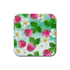 Cute Strawberries Pattern Rubber Coaster (square)  by DanaeStudio