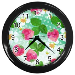 Cute Strawberries Pattern Wall Clocks (black) by DanaeStudio