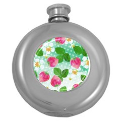 Cute Strawberries Pattern Round Hip Flask (5 Oz) by DanaeStudio