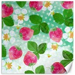Cute Strawberries Pattern Canvas 12  x 12   12 x12 Canvas - 1