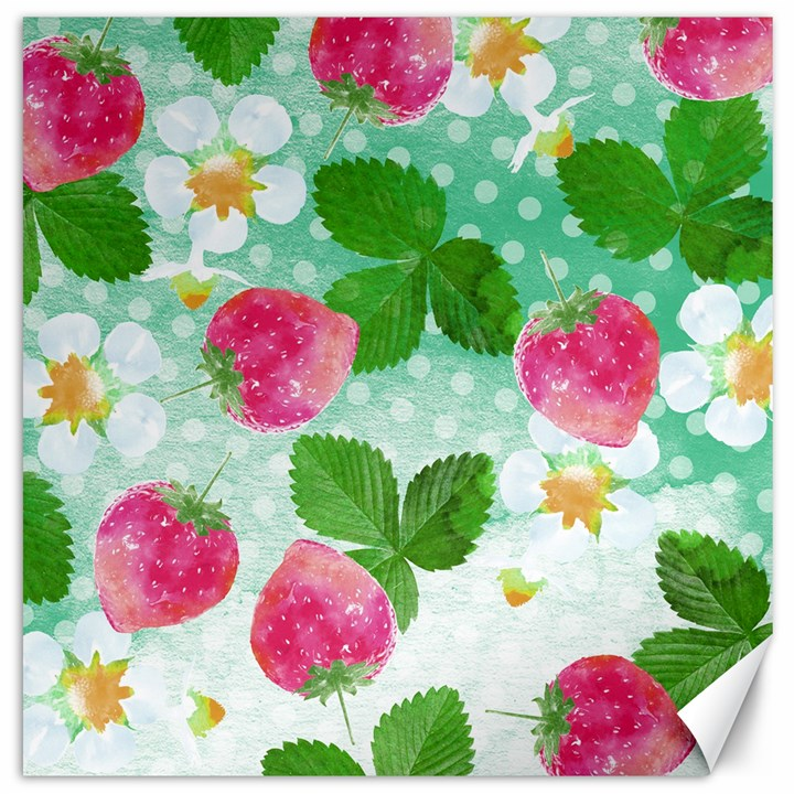 Cute Strawberries Pattern Canvas 12  x 12