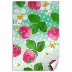 Cute Strawberries Pattern Canvas 24  X 36  by DanaeStudio