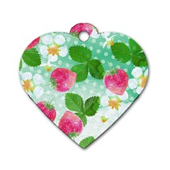 Cute Strawberries Pattern Dog Tag Heart (two Sides) by DanaeStudio