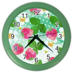 Cute Strawberries Pattern Color Wall Clocks by DanaeStudio