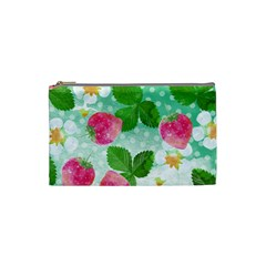 Cute Strawberries Pattern Cosmetic Bag (small)  by DanaeStudio