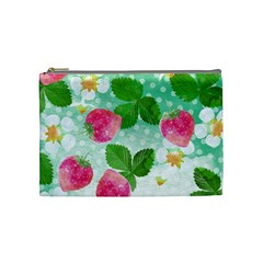 Cute Strawberries Pattern Cosmetic Bag (medium)  by DanaeStudio