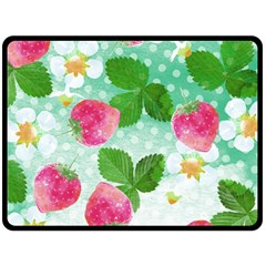 Cute Strawberries Pattern Fleece Blanket (large)  by DanaeStudio