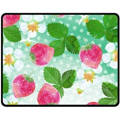Cute Strawberries Pattern Fleece Blanket (medium)  by DanaeStudio