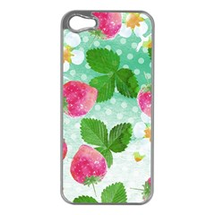 Cute Strawberries Pattern Apple Iphone 5 Case (silver) by DanaeStudio