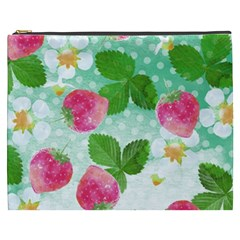 Cute Strawberries Pattern Cosmetic Bag (xxxl)  by DanaeStudio