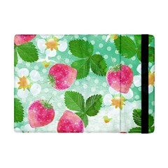 Cute Strawberries Pattern Apple Ipad Mini Flip Case by DanaeStudio