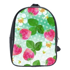 Cute Strawberries Pattern School Bags (xl)  by DanaeStudio
