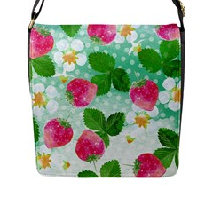 Cute Strawberries Pattern Flap Messenger Bag (l)  by DanaeStudio
