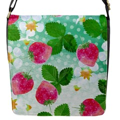 Cute Strawberries Pattern Flap Messenger Bag (s) by DanaeStudio