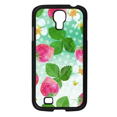 Cute Strawberries Pattern Samsung Galaxy S4 I9500/ I9505 Case (black) by DanaeStudio