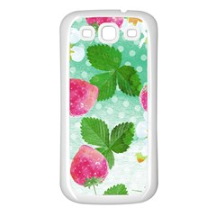 Cute Strawberries Pattern Samsung Galaxy S3 Back Case (white) by DanaeStudio