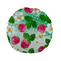 Cute Strawberries Pattern Standard 15  Premium Flano Round Cushions by DanaeStudio