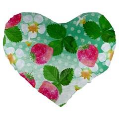 Cute Strawberries Pattern Large 19  Premium Flano Heart Shape Cushions by DanaeStudio