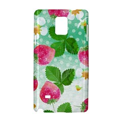 Cute Strawberries Pattern Samsung Galaxy Note 4 Hardshell Case by DanaeStudio