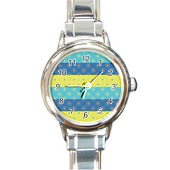Hexagon And Stripes Pattern Round Italian Charm Watch by DanaeStudio