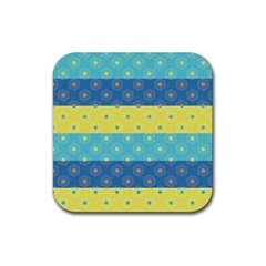 Hexagon And Stripes Pattern Rubber Coaster (square)  by DanaeStudio