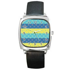 Hexagon And Stripes Pattern Square Metal Watch by DanaeStudio