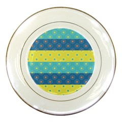 Hexagon And Stripes Pattern Porcelain Plates by DanaeStudio