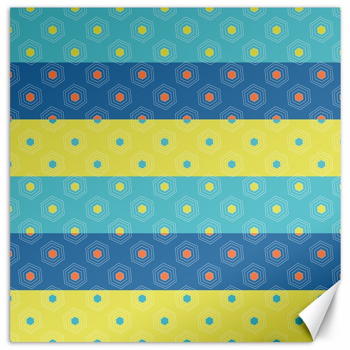 Hexagon And Stripes Pattern Canvas 12  x 12