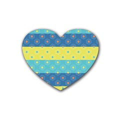 Hexagon And Stripes Pattern Rubber Coaster (heart)  by DanaeStudio