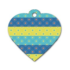 Hexagon And Stripes Pattern Dog Tag Heart (one Side) by DanaeStudio