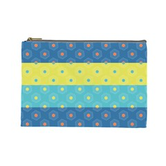 Hexagon And Stripes Pattern Cosmetic Bag (large)  by DanaeStudio