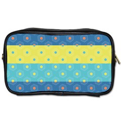 Hexagon And Stripes Pattern Toiletries Bags 2 Side by DanaeStudio