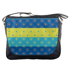 Hexagon And Stripes Pattern Messenger Bags by DanaeStudio