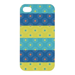 Hexagon And Stripes Pattern Apple Iphone 4/4s Premium Hardshell Case by DanaeStudio