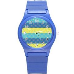 Hexagon And Stripes Pattern Round Plastic Sport Watch (s) by DanaeStudio