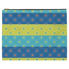 Hexagon And Stripes Pattern Cosmetic Bag (xxxl)  by DanaeStudio